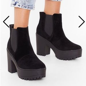 Nasty Gal Faux Suede to Win Cleated Chelsea Boots